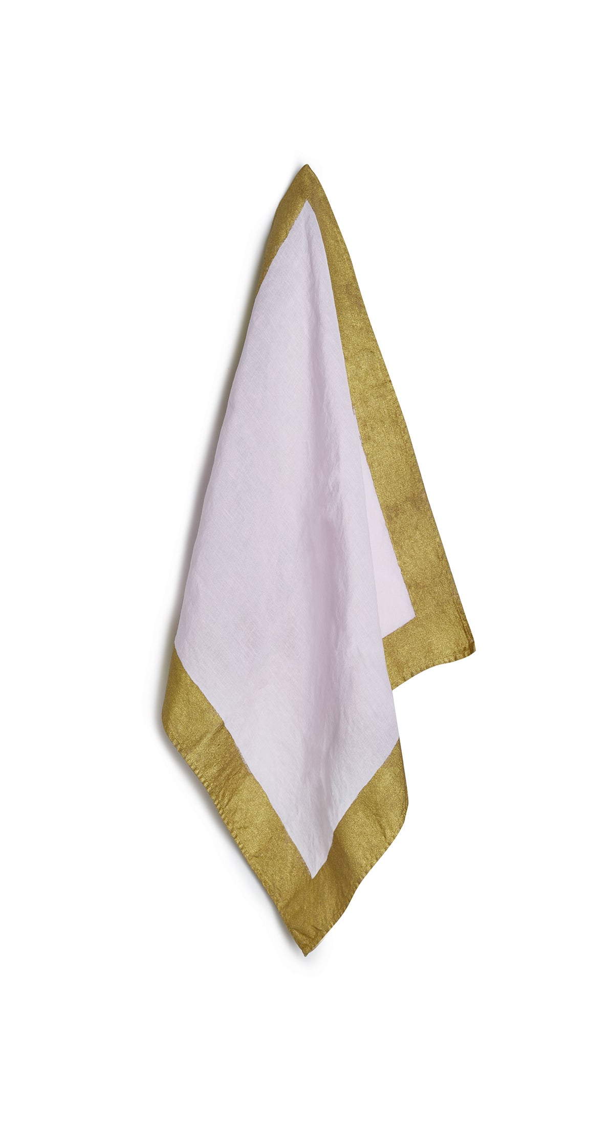 Gold Edge Linen Napkin in Pale Pink