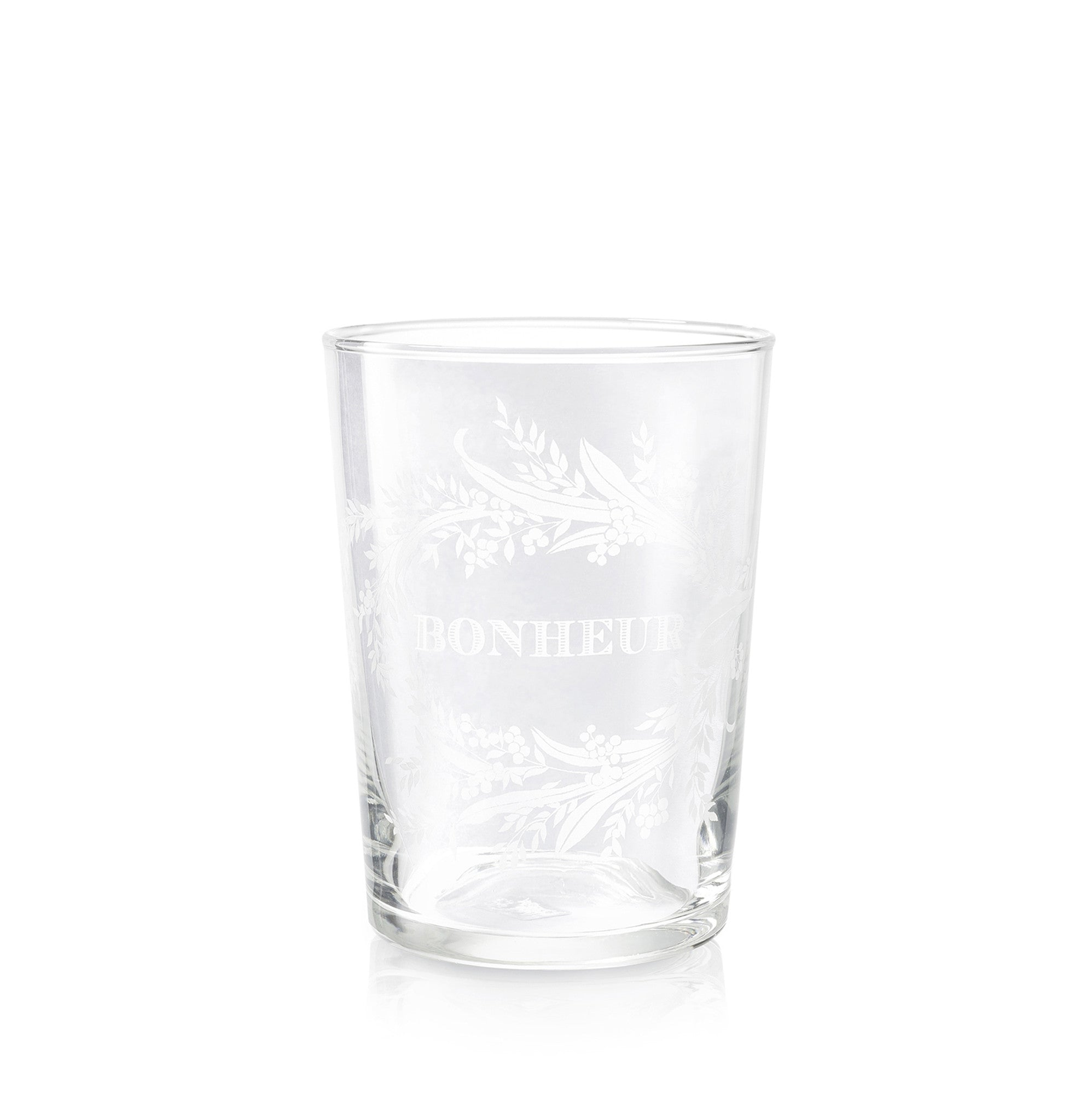 Amour Bonheur Etched Glass Tumblers, Set of Two