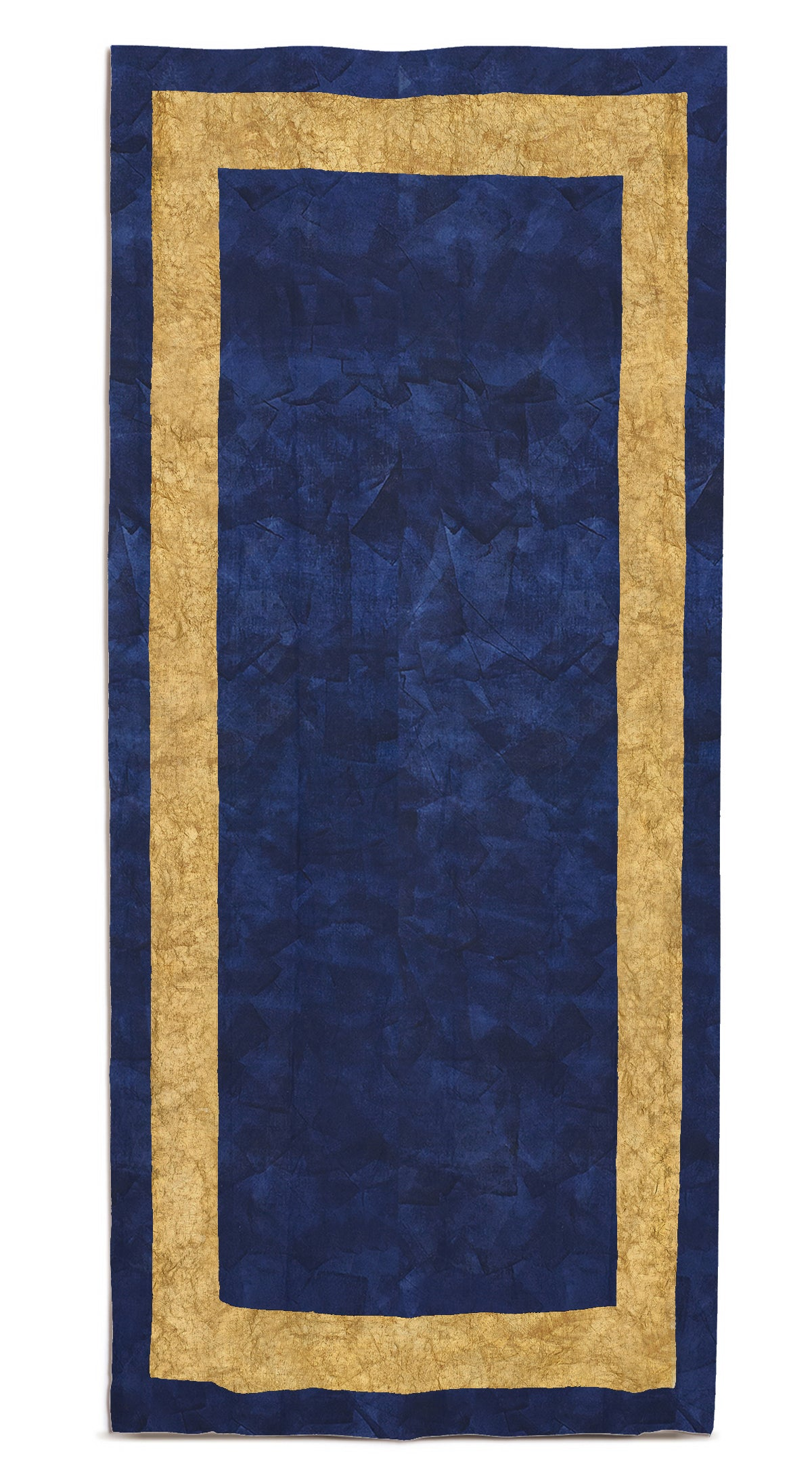 Full Field Cornice Linen Tablecloth in Midnight Blue & Gold