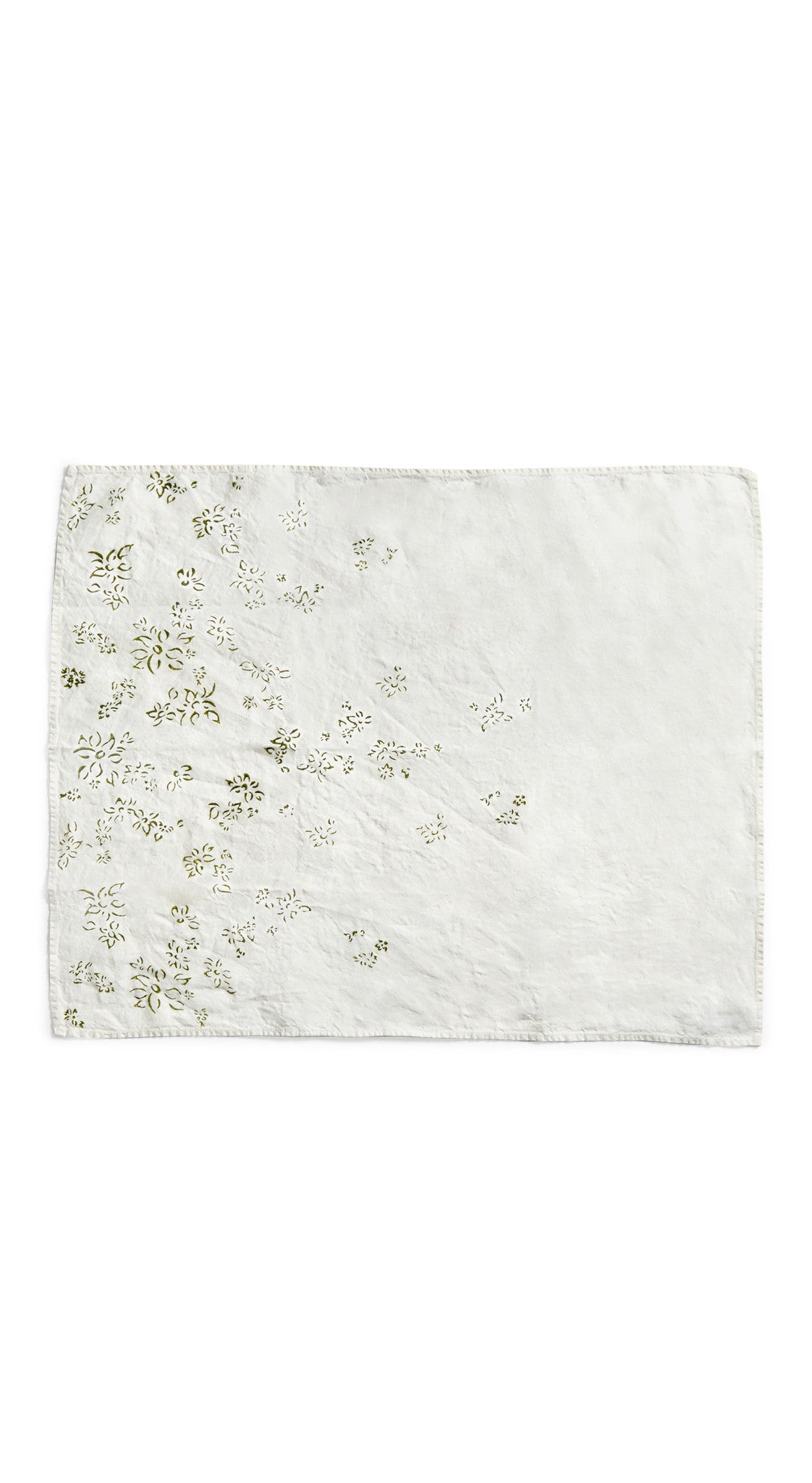 Bernadette's Hand Stamped Falling Flower Linen Tea Towel in Avocado Green