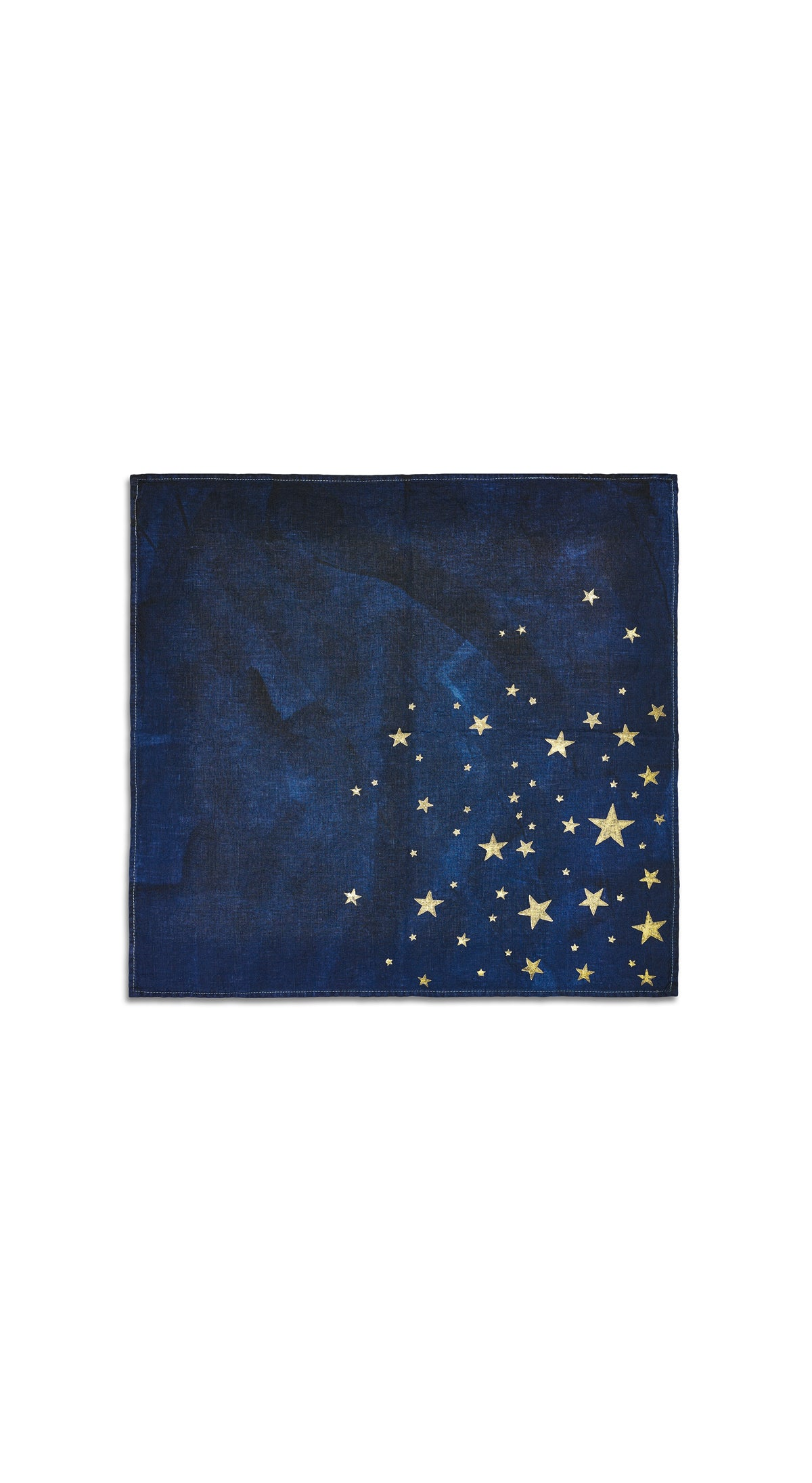 Falling Stars Linen Napkin in Ink Blue with Gold Stars