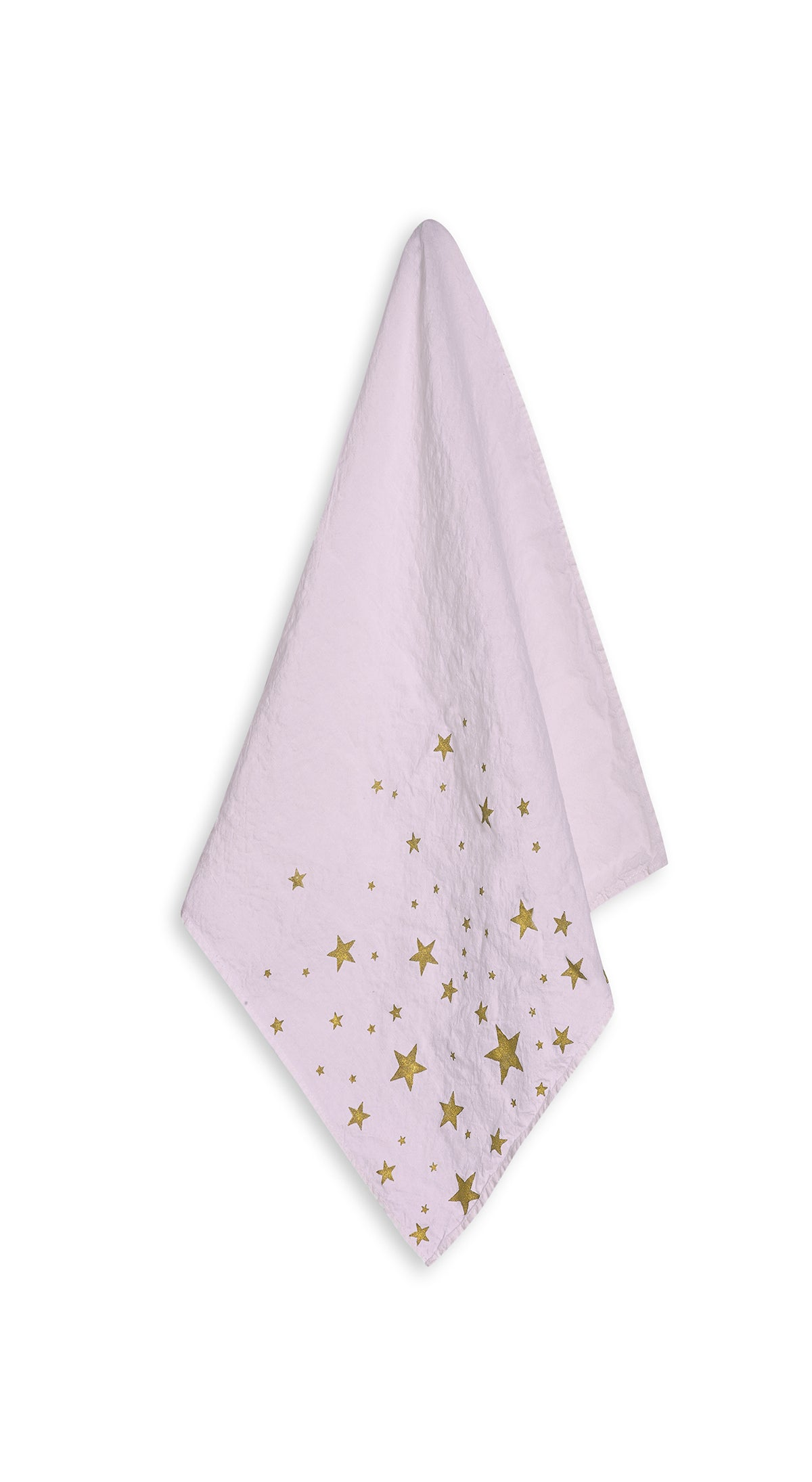 Falling Stars Linen Napkin in Pale Pink with Gold Stars