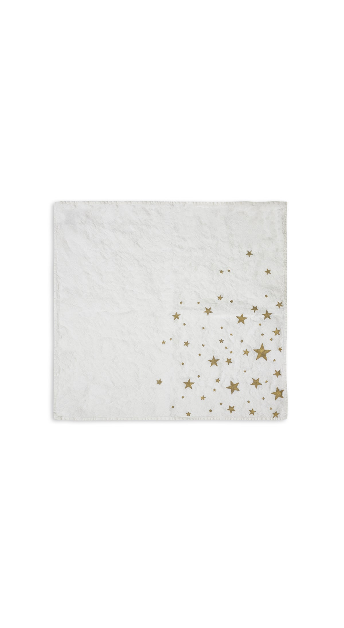 Falling Stars Linen Napkin in White with Gold Stars