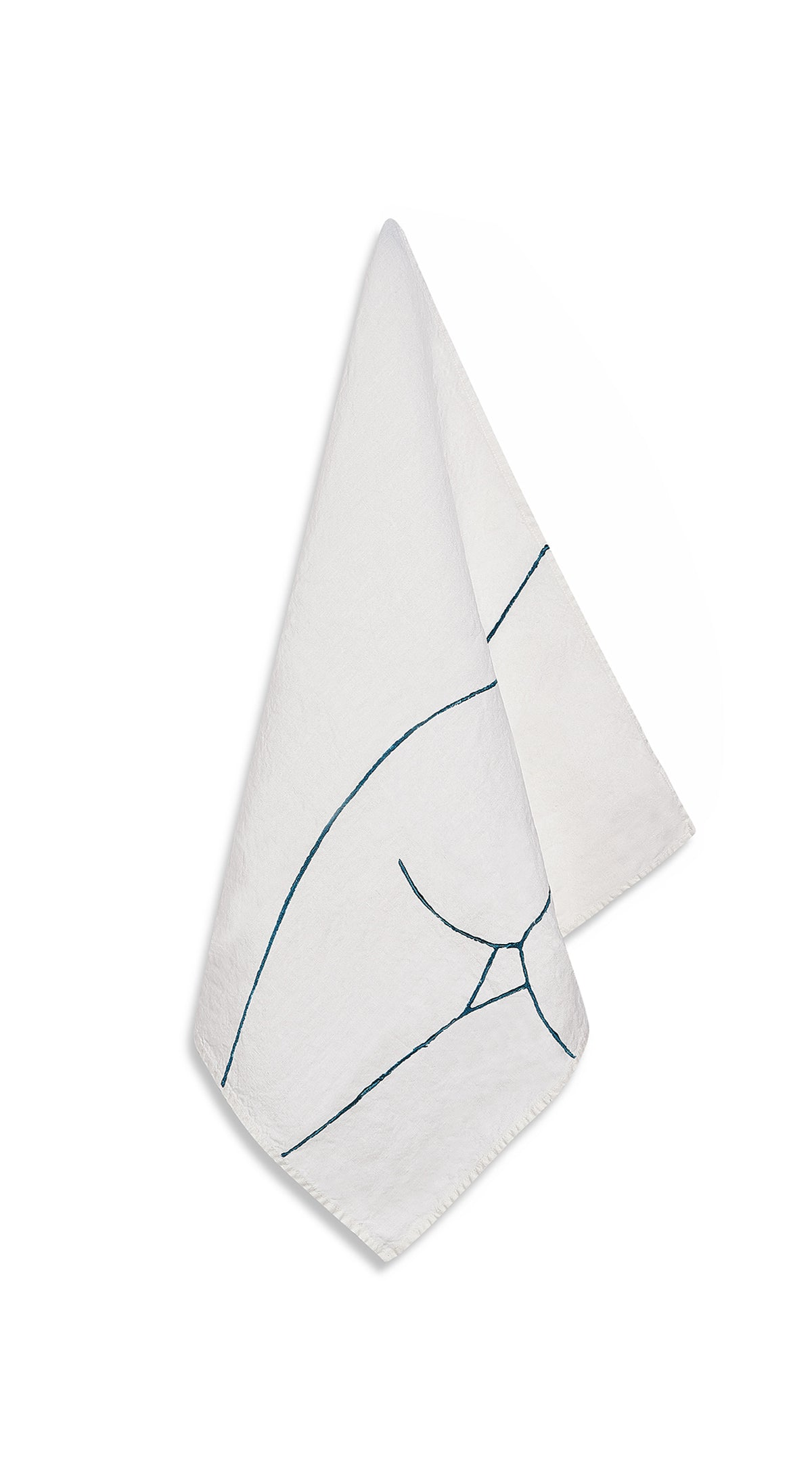 "Nude Linen Napkin ""Female Rear"" in Midnight Blue"