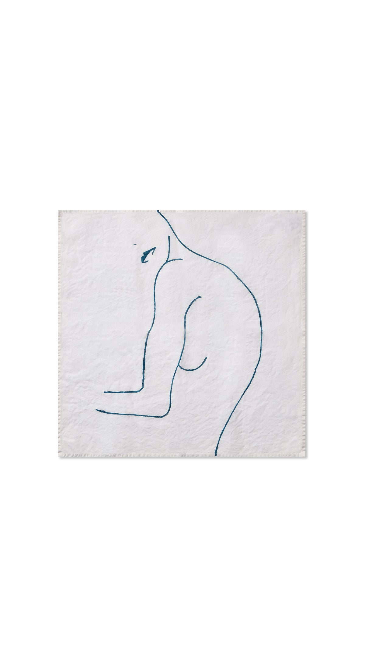 "Nude Linen Napkin ""Female With Lips"" in Midnight Blue"