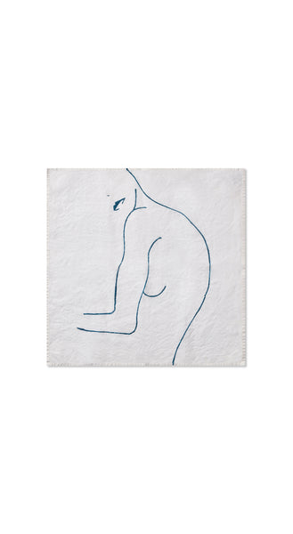 "Nude Linen Napkin ""Female Two"" in Midnight Blue"