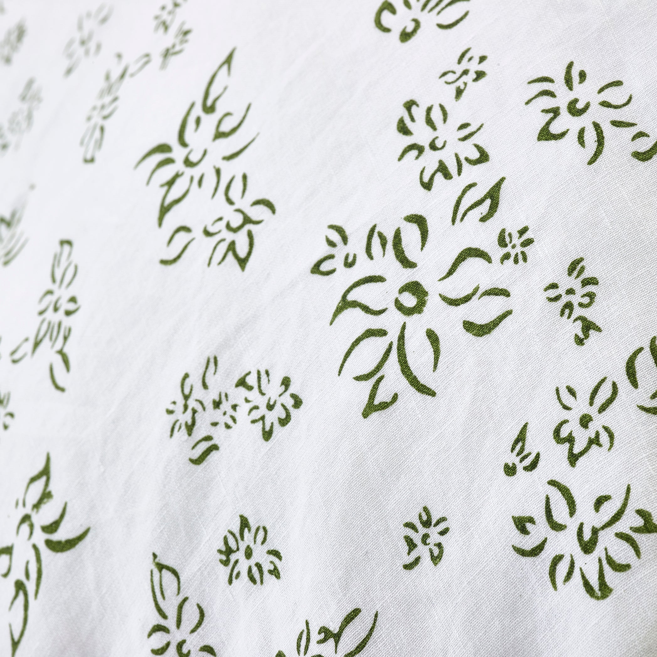 """Bernadette's Falling Flower"" Linen Bed Set in Avocado Green, Emperor"
