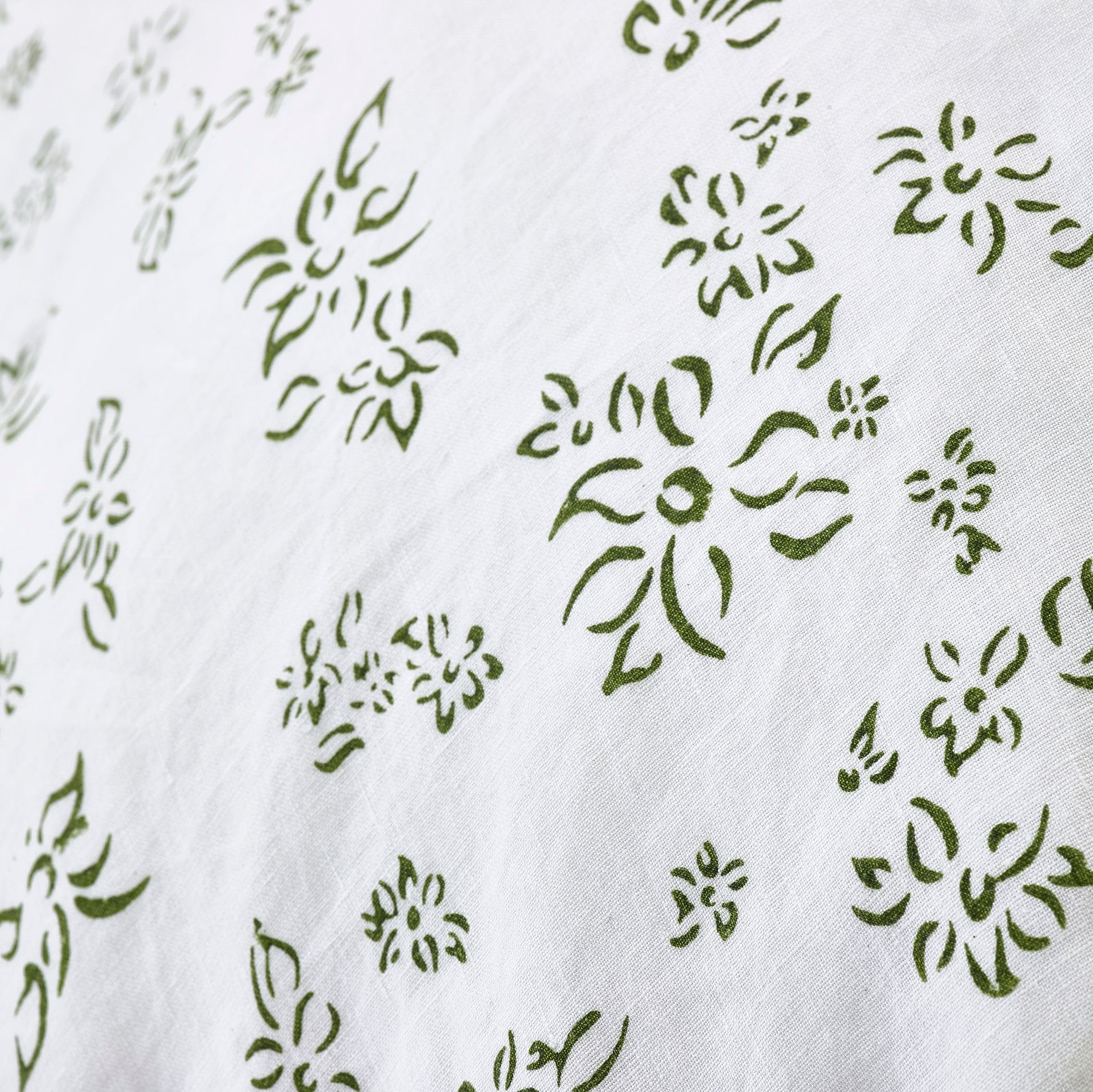 """Bernadette's Hand Stamped Falling Flower"" Linen Bed Set in Avocado Green, Double"