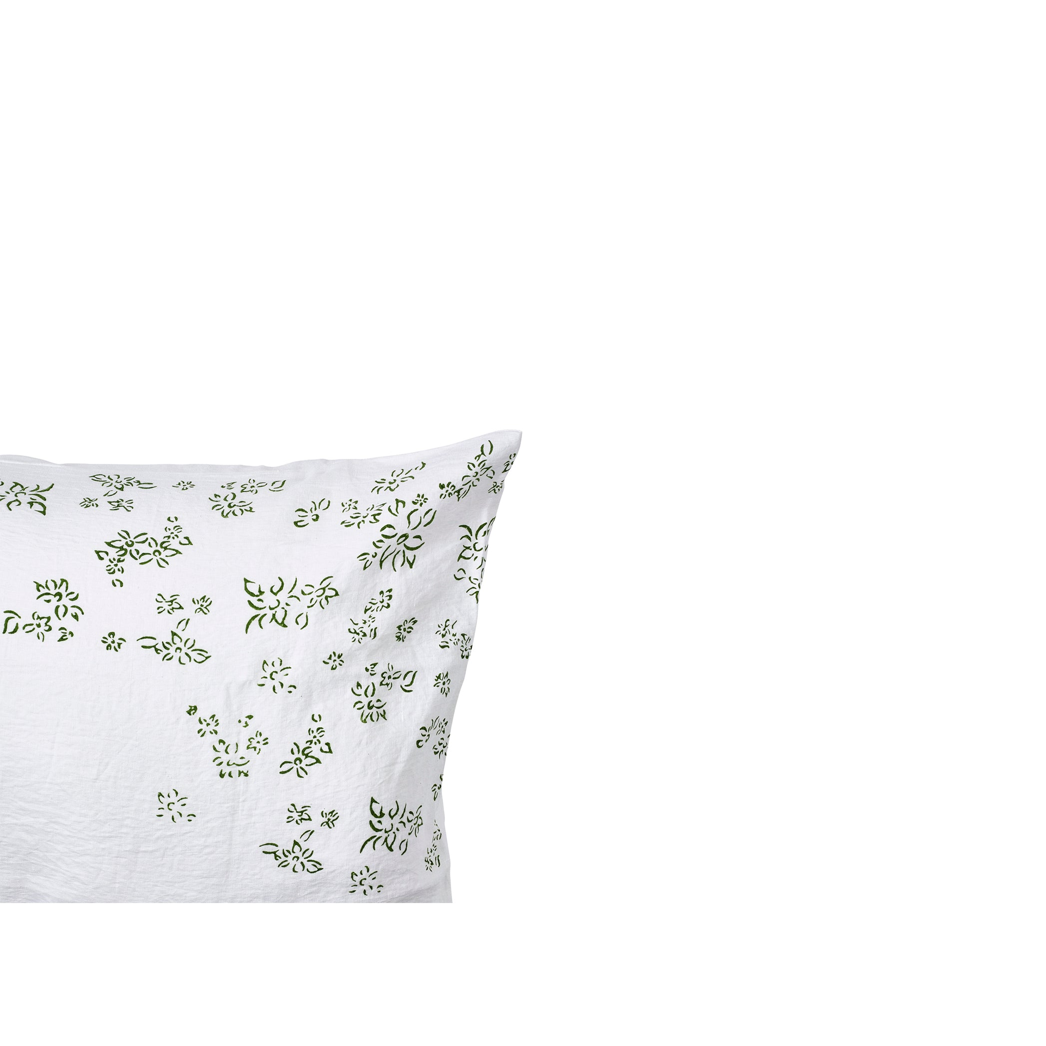 """Bernadette's Falling Flower"" Linen Housewife Pillowcase in Avocado Green"