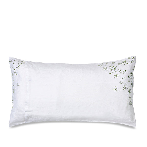"""Bernadette's Falling Flower"" Linen Extra Large Housewife Pillowcase in Avocado Green"