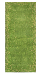 Bernadette's Falling Flower On Full Field Linen Tablecloth in Avocado Green & Gold