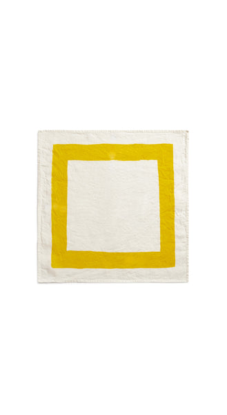Cornice Linen Napkin in Lemon Yellow