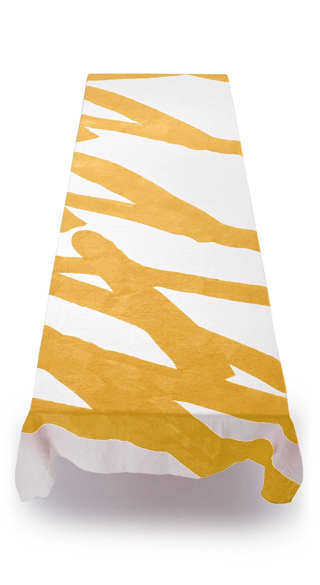 Happy Word Linen Tablecloth in Lemon Yellow