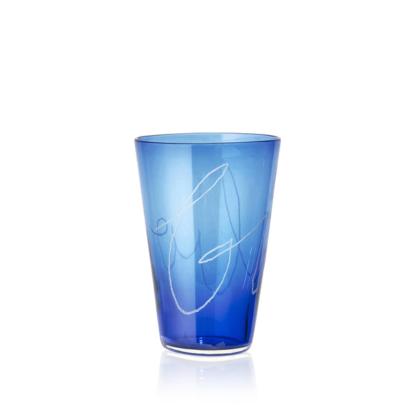 Personalised Handblown Graffiti Glass in Iris Blue