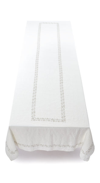 Bernadette's Framed Flower Linen Tablecloth in Gold