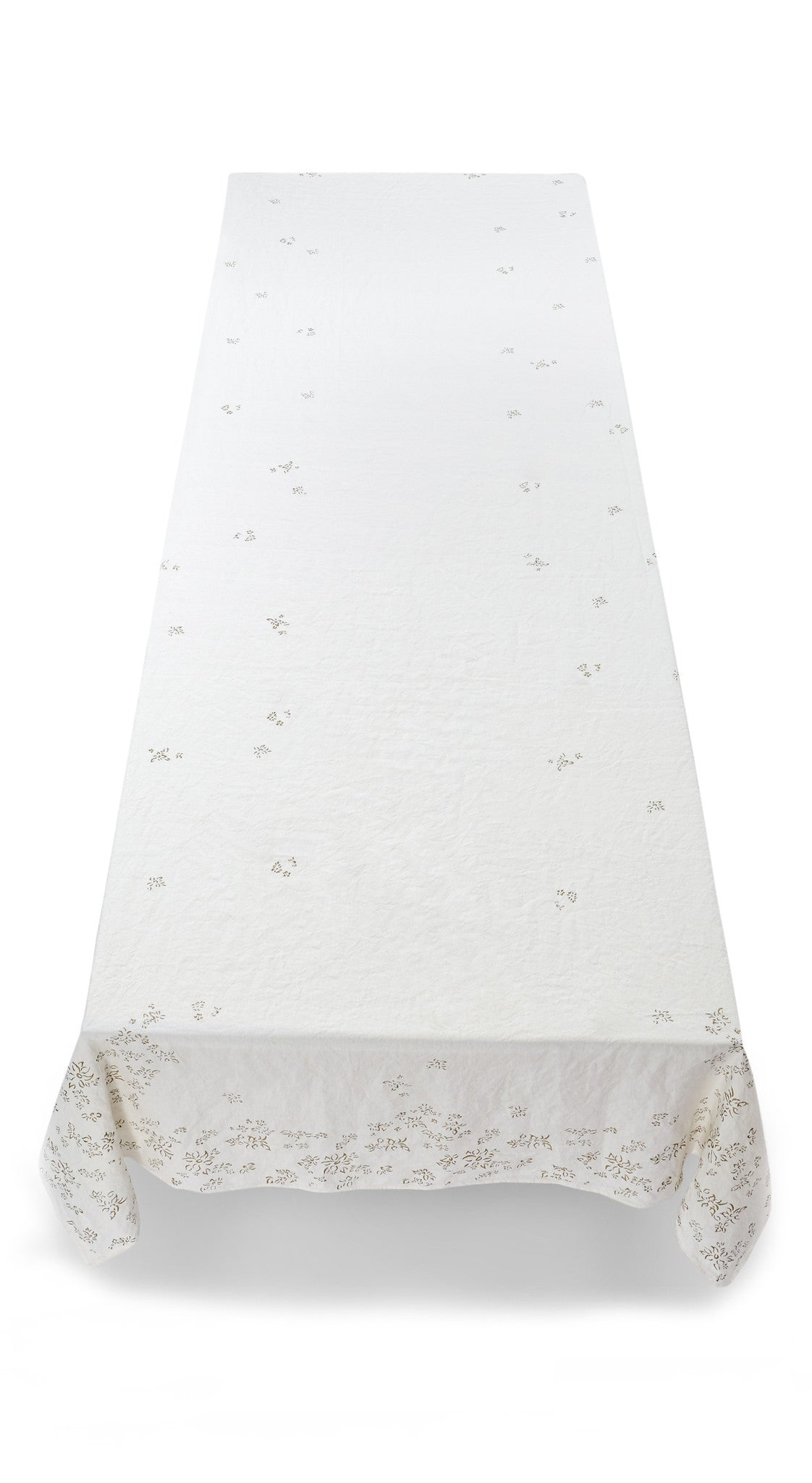 Bernadette's Hand Stamped Falling Flower Linen Tablecloth in Gold