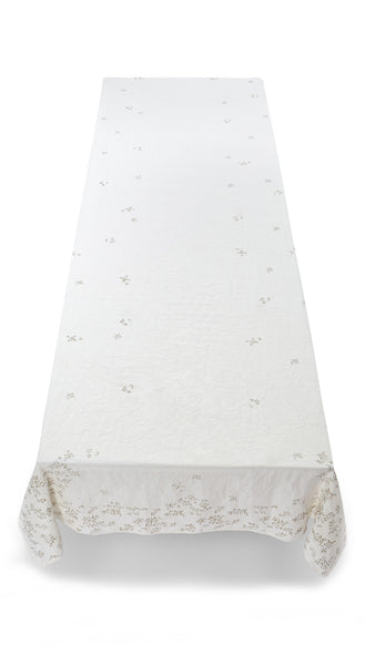 Bernadette's Falling Flower Linen Tablecloth in Gold