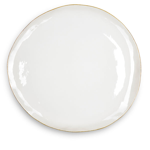 S&B Handmade 46cm Porcelain Extra Large Platter with Gold Rim