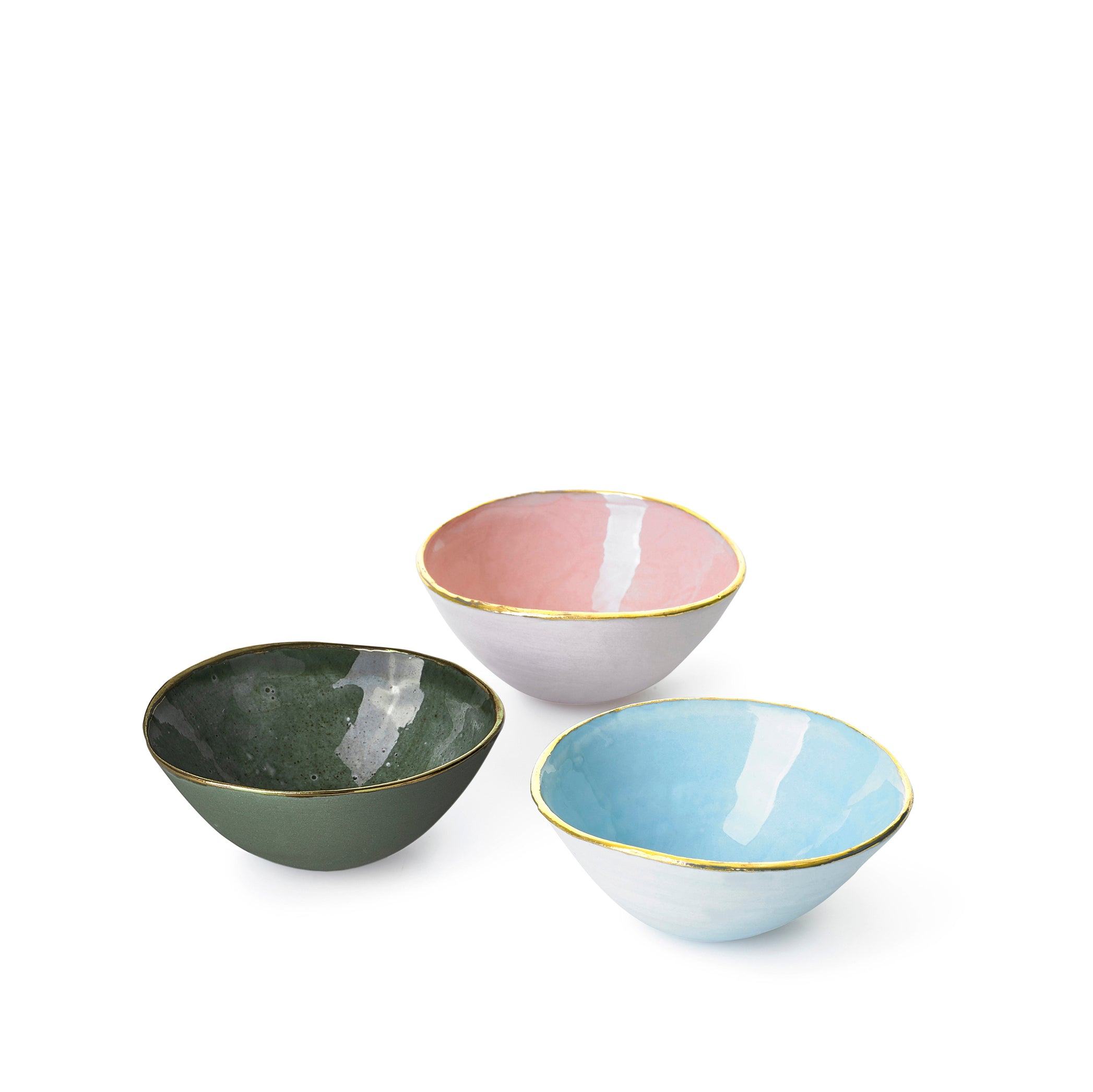 Full Painted Olive Green Ceramic Bowl with Gold Rim, 10cm