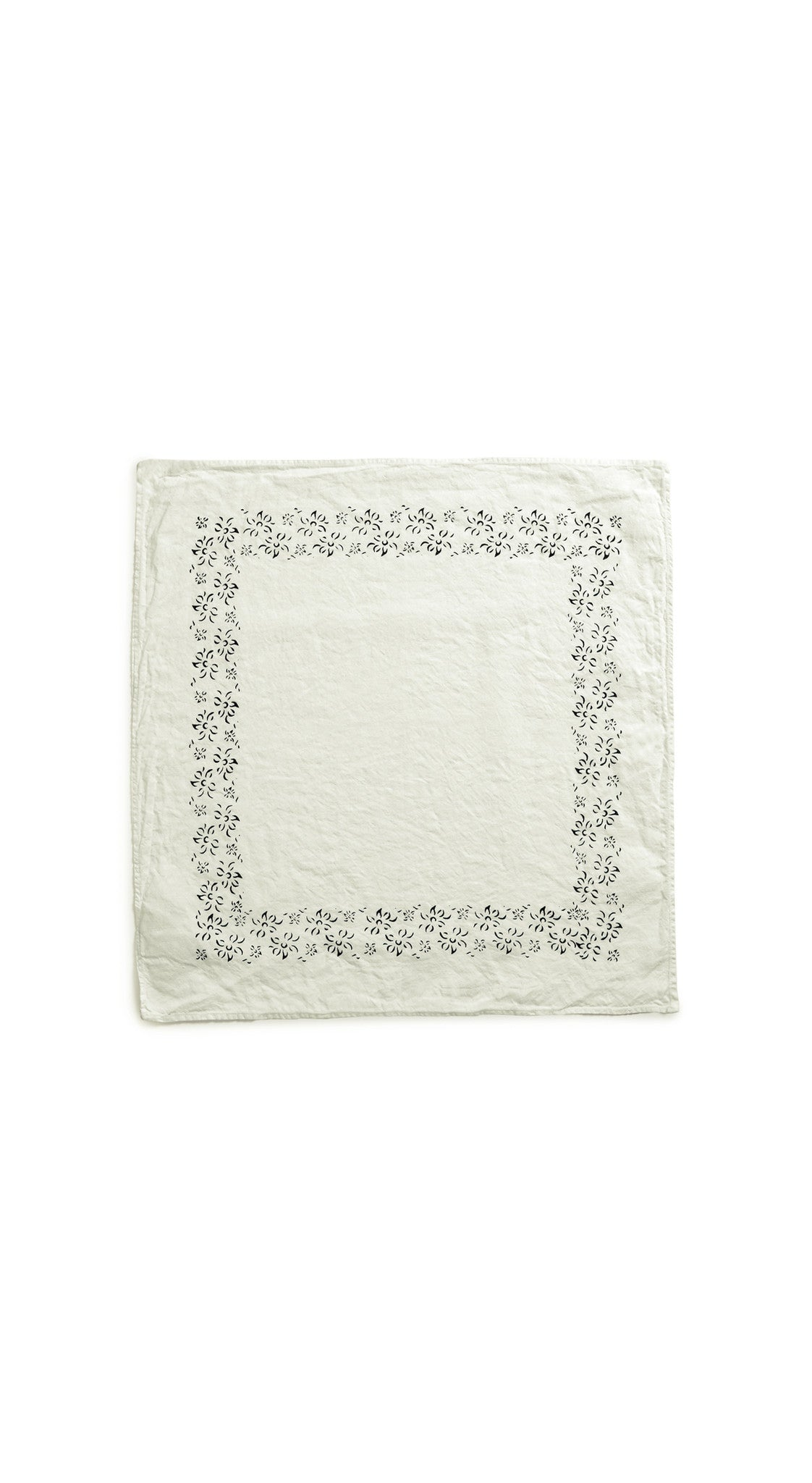 Bernadette's Framed Flower Linen Napkin in Forest Green