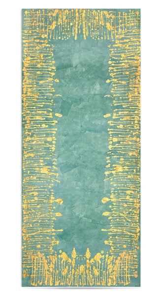 Ink Linen Tablecloth in Deep Teal with Gold Drips