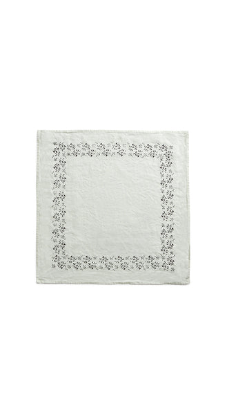 Bernadette's Framed Flower Linen Napkin in Smoke Grey