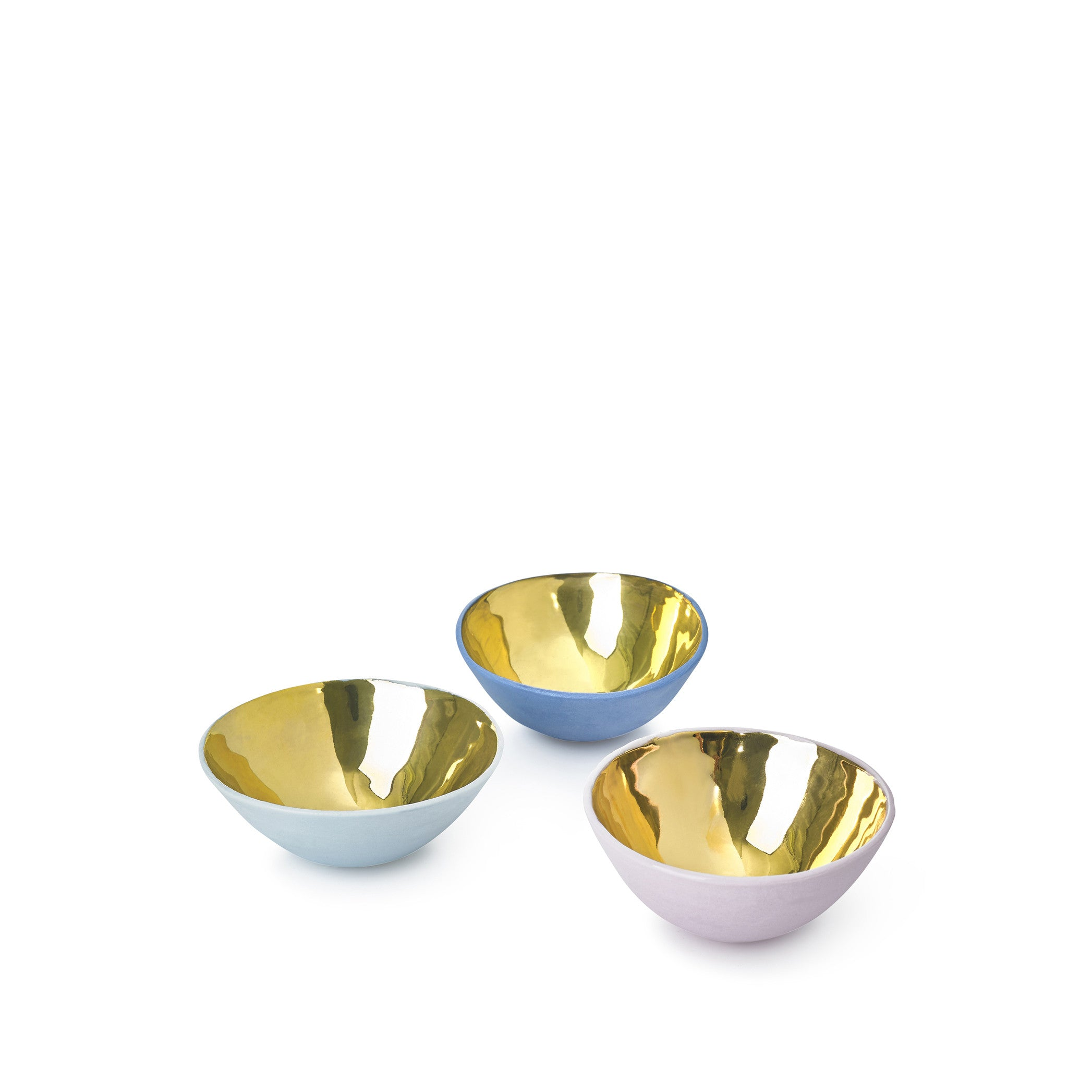 Full Painted Light Blue Ceramic Bowl with Gold Glaze, 6cm