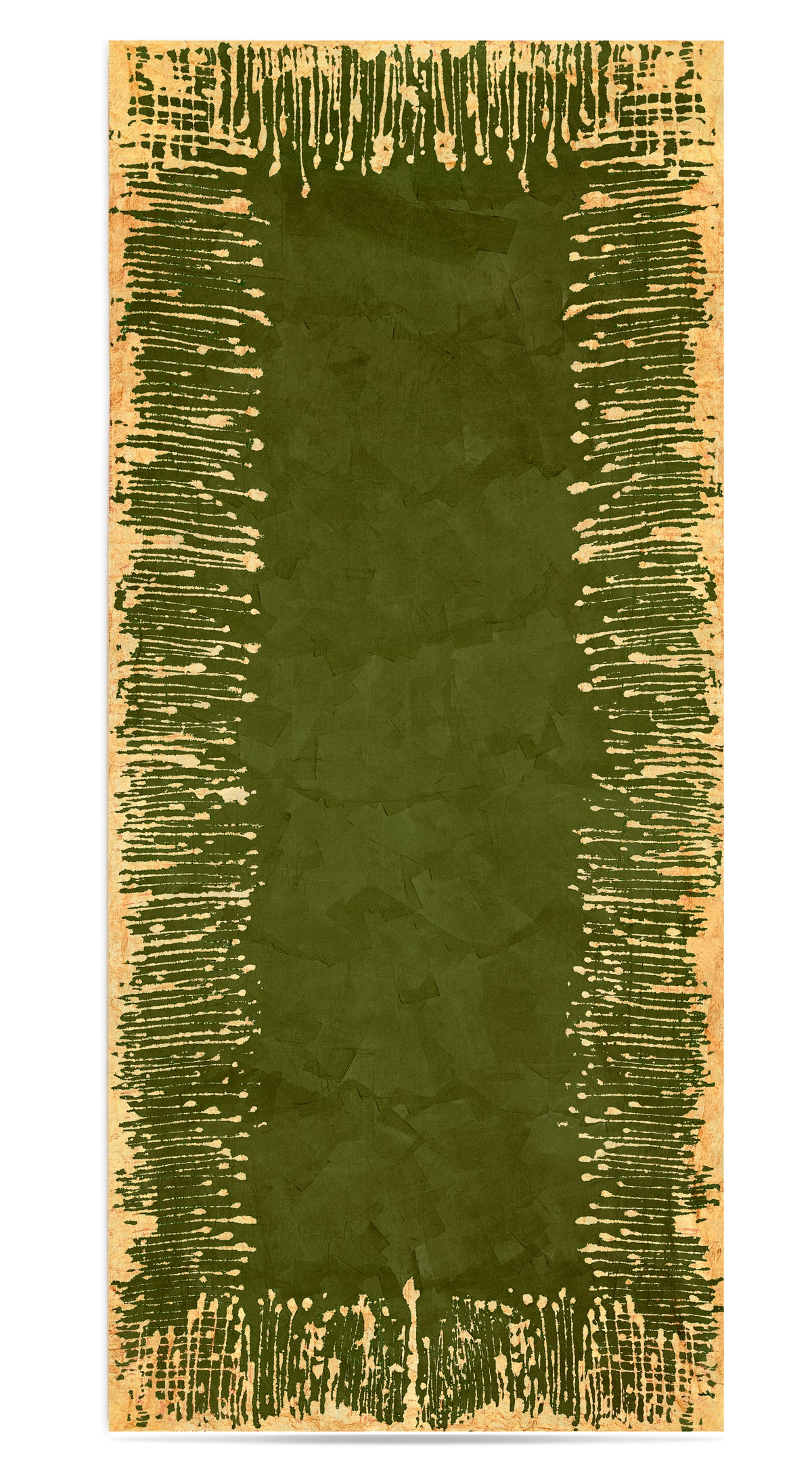 Ink Linen Tablecloth in Avocado Green with Gold Drips