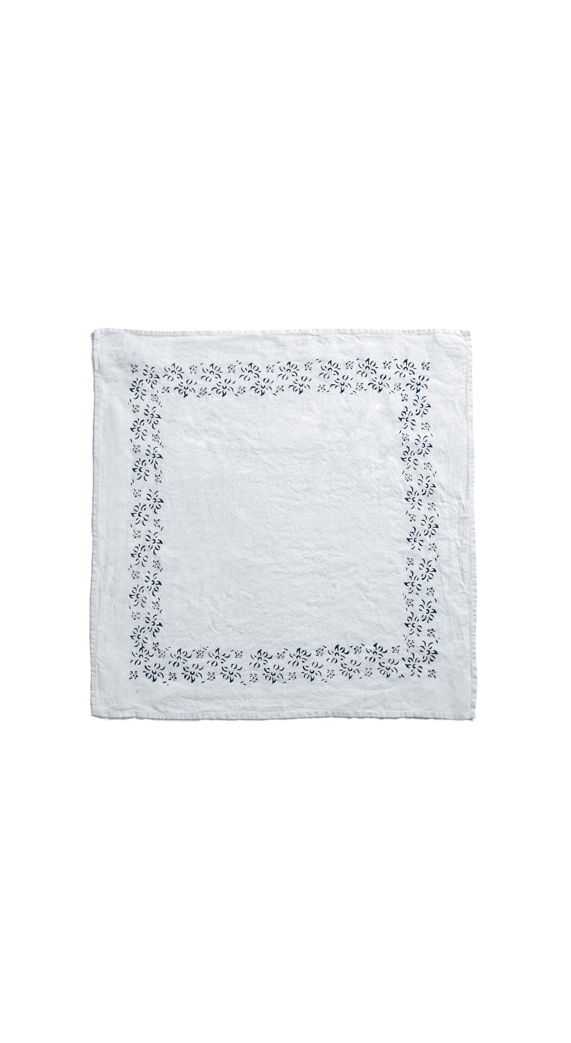 Bernadette's Framed Flower Linen Napkin in Midnight Blue