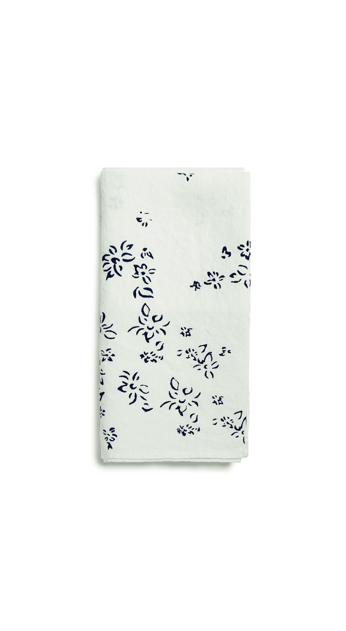 Bernadette's Falling Flower Linen Napkin in Midnight Blue