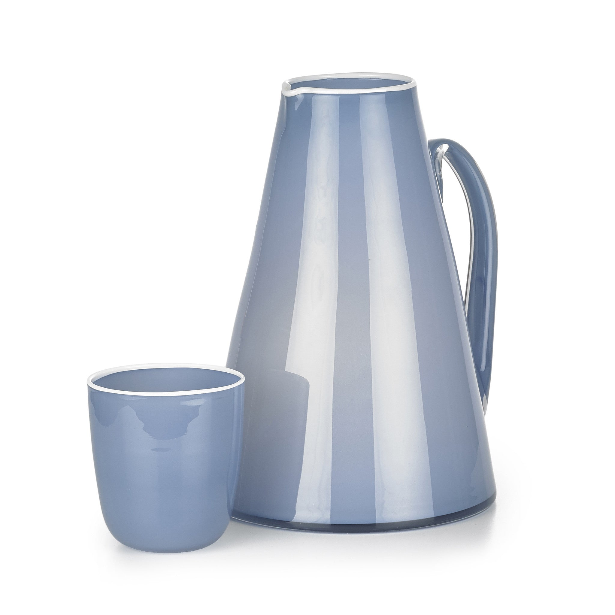 Handblown Glass Bumba Jug in Powder Blue