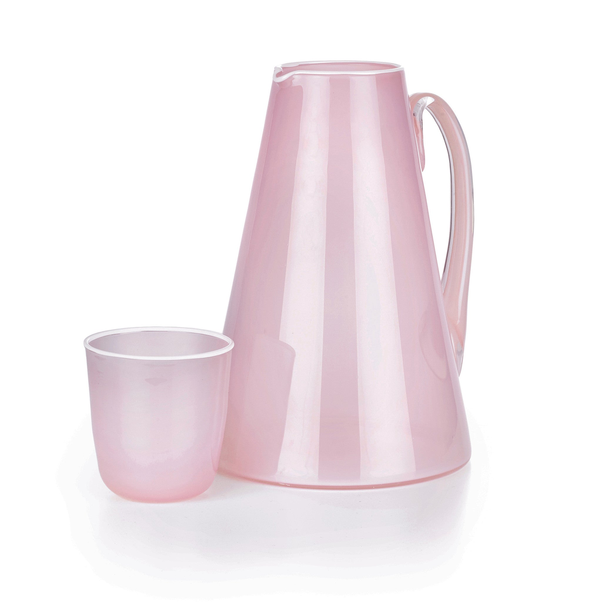 Handblown Glass Bumba Jug in Rose Pink