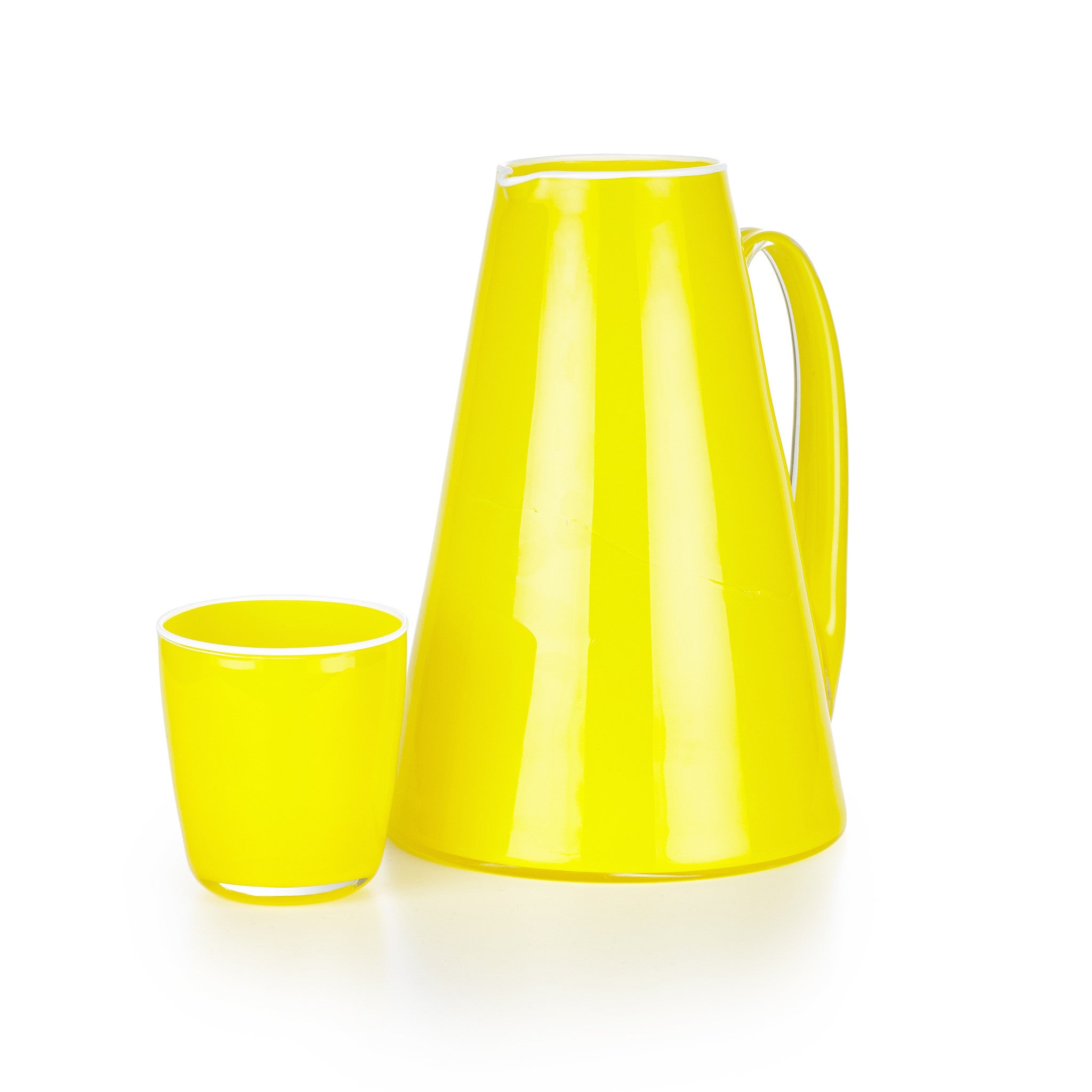 Handblown Glass Bumba Jug in Lemon Yellow