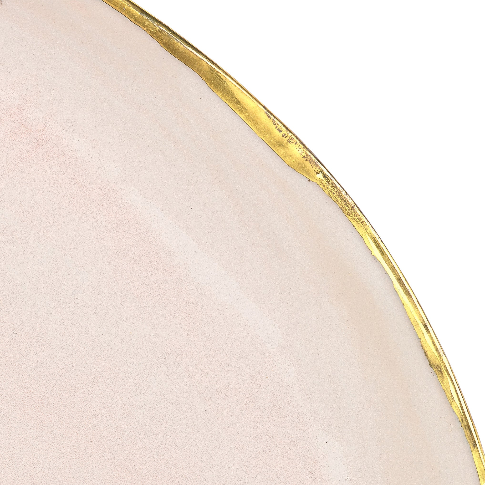 Large Pink Ceramic Plate with Gold Rim, 34cm
