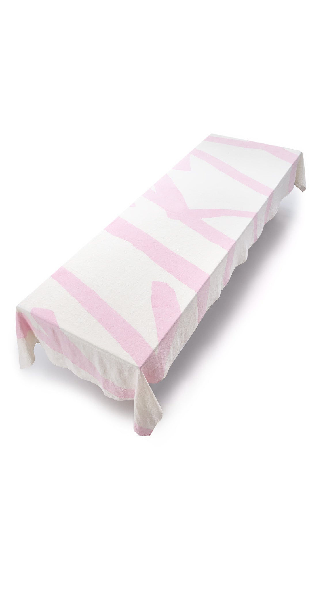 Flirty Word Linen Tablecloth in Petal Pink