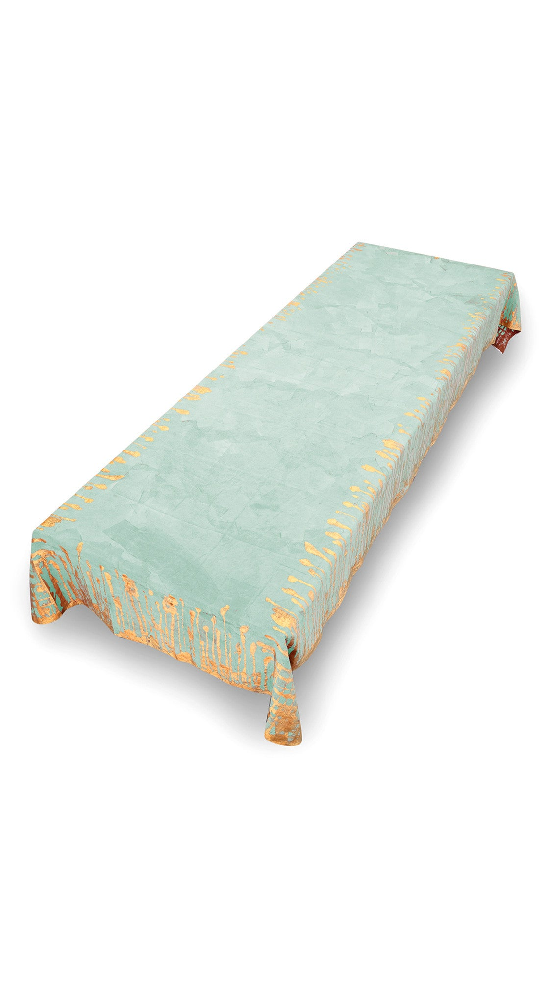 Ink Linen Tablecloth in Light Green with Gold Drips