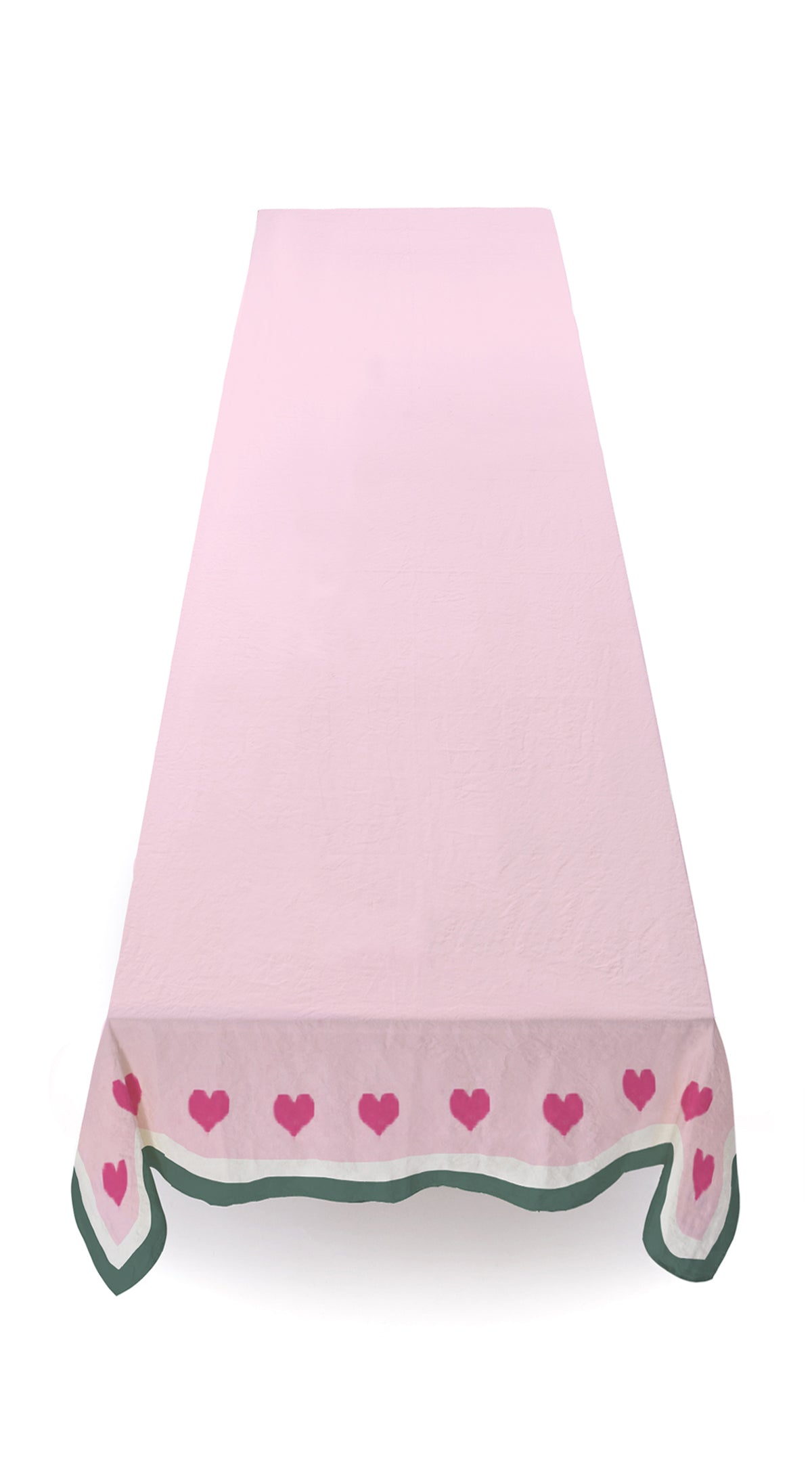 MADE TO ORDER-S&B x Lisou Heart Linen Tablecloth in Petal Pink and Forest Green
