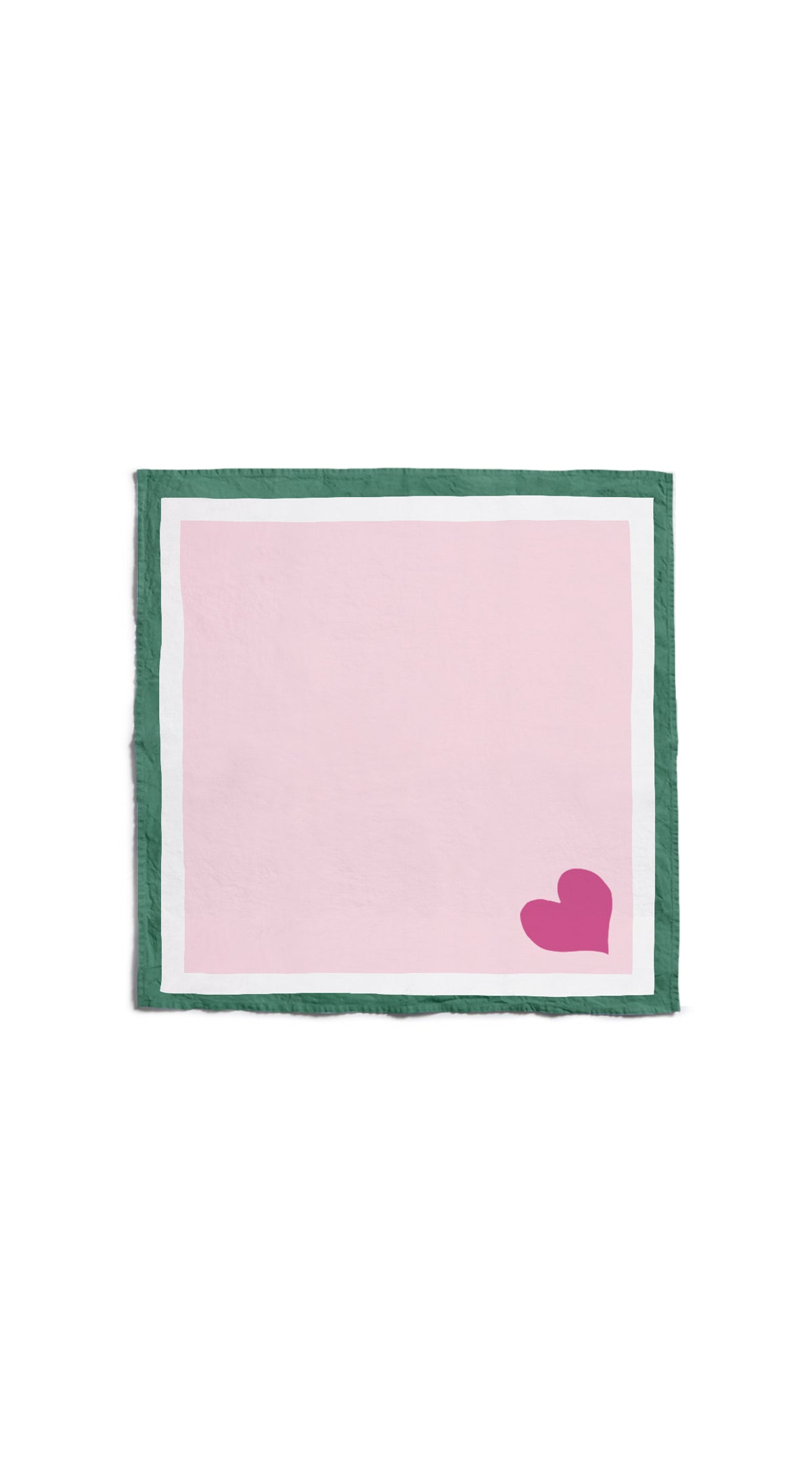 S&B x Lisou Heart Linen Napkin in Petal Pink and Forest Green