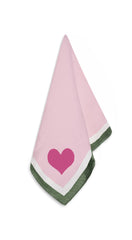 MADE TO ORDER - S&B x Lisou Heart Linen Napkin in Petal Pink and Forest Green