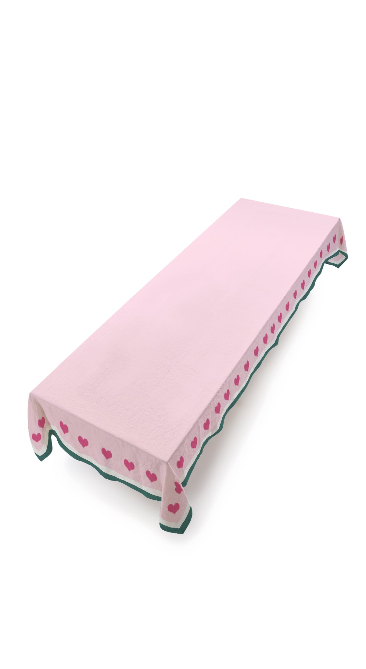 S&B x Lisou Heart Linen Tablecloth in Petal Pink and Forest Green