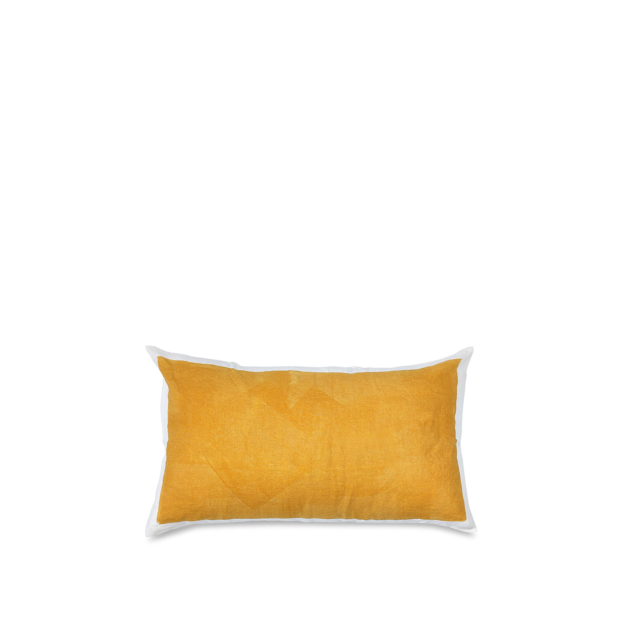 Hand Painted Linen Cushion in Mustard Yellow, 50cm x 30cm