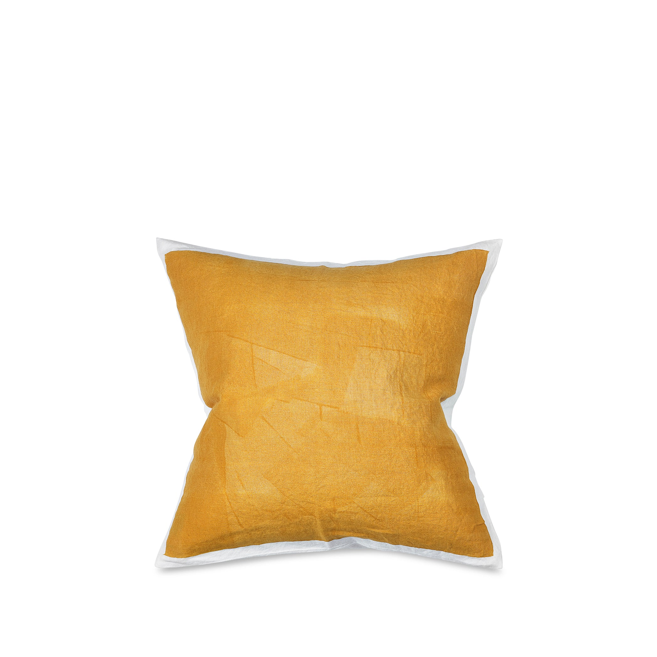 Hand Painted Linen Cushion Cover in Mustard Yellow, 50cm x 50cm