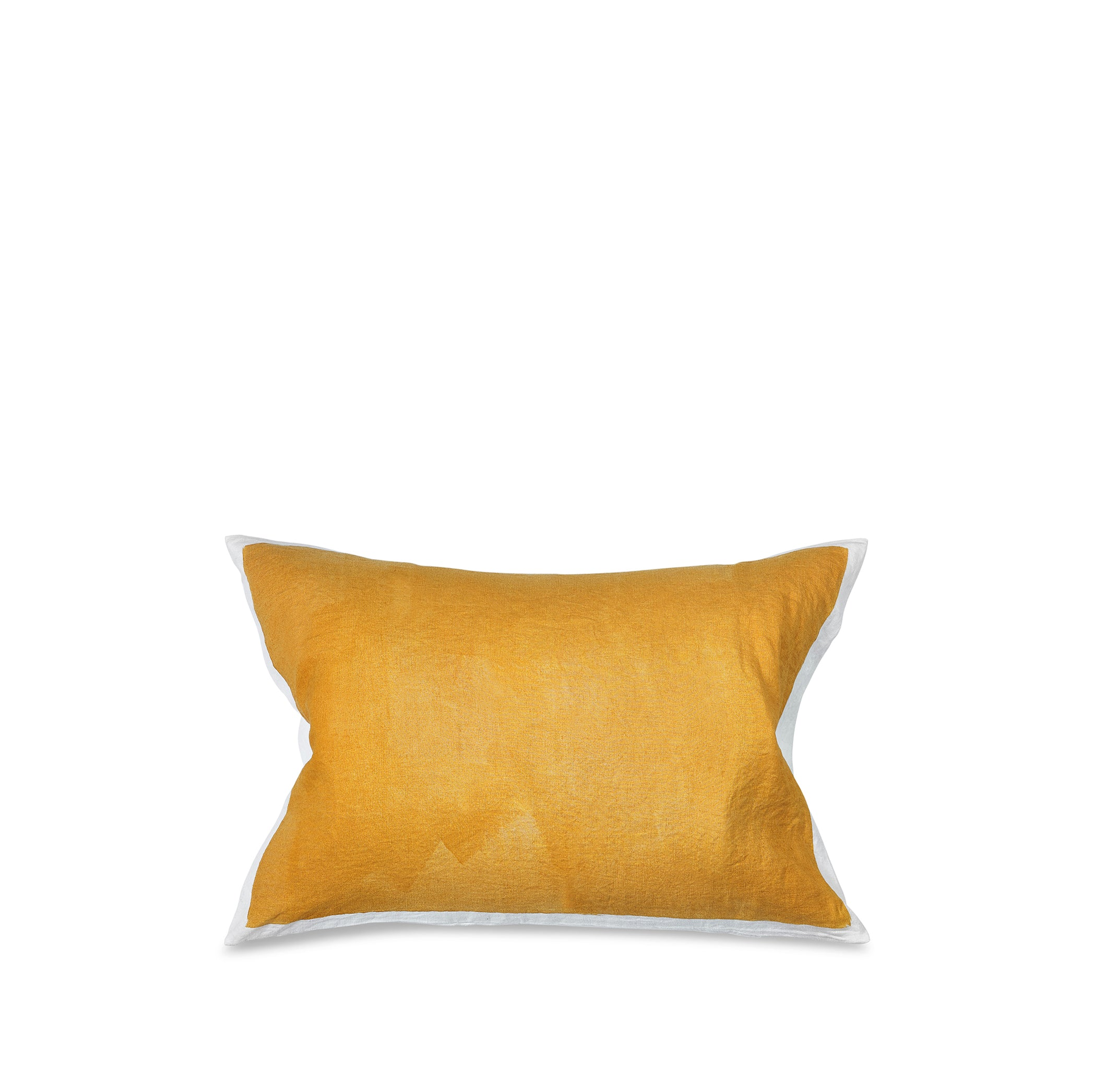 Hand Painted Linen Cushion in Mustard Yellow, 60cm x 40cm