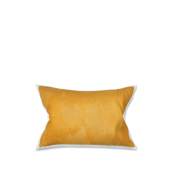 Hand Painted Linen Cushion Cover in Mustard Yellow, 60cm x 40cm