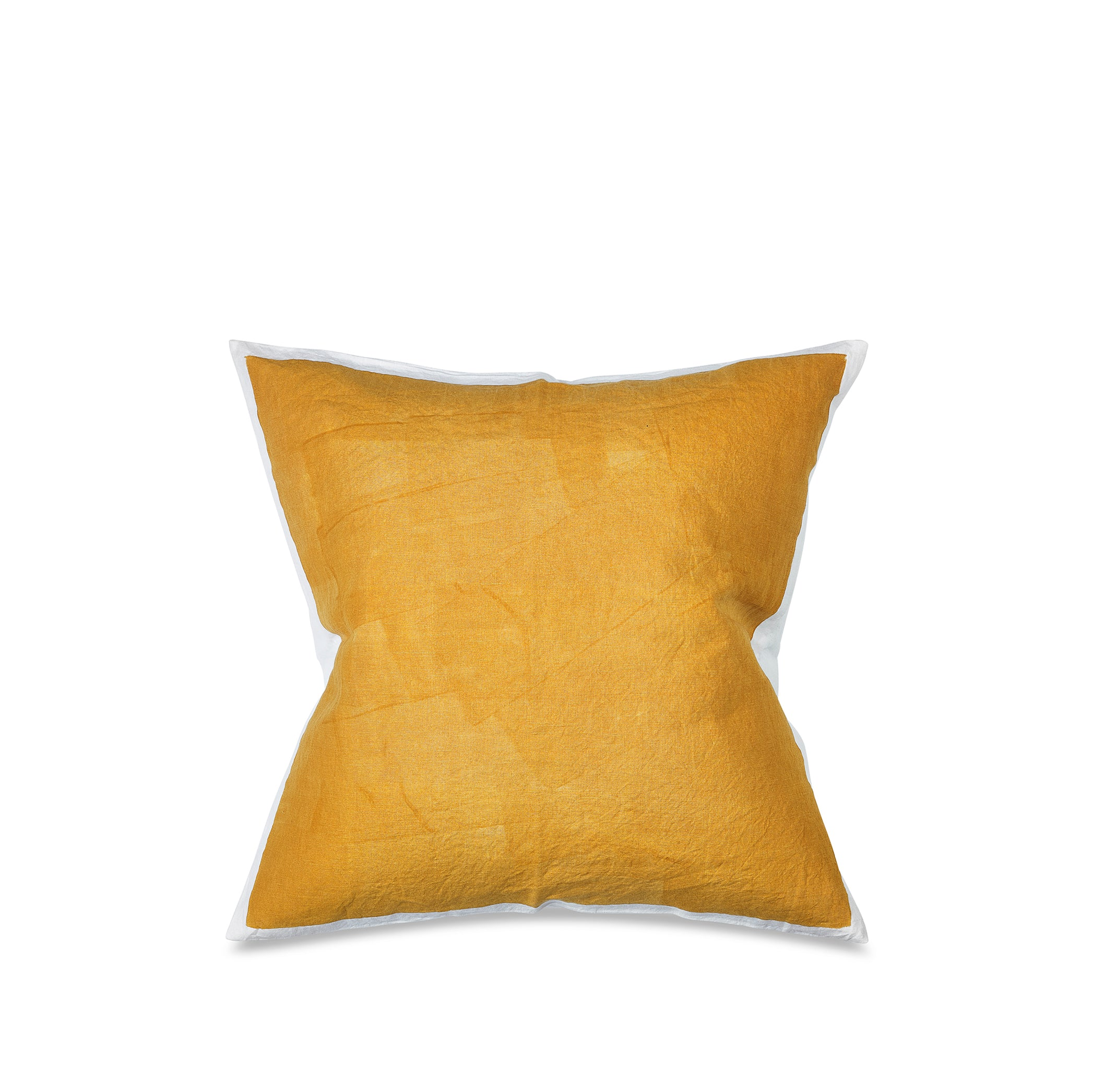 Hand Painted Linen Cushion in Mustard Yellow, 60cm x 60cm