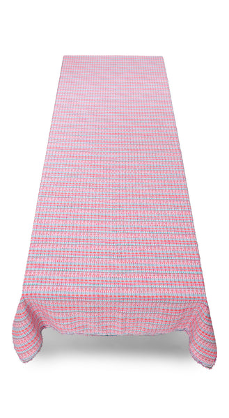 Macaron Woven Tweed Tablecloth in Neon Pink & Blue