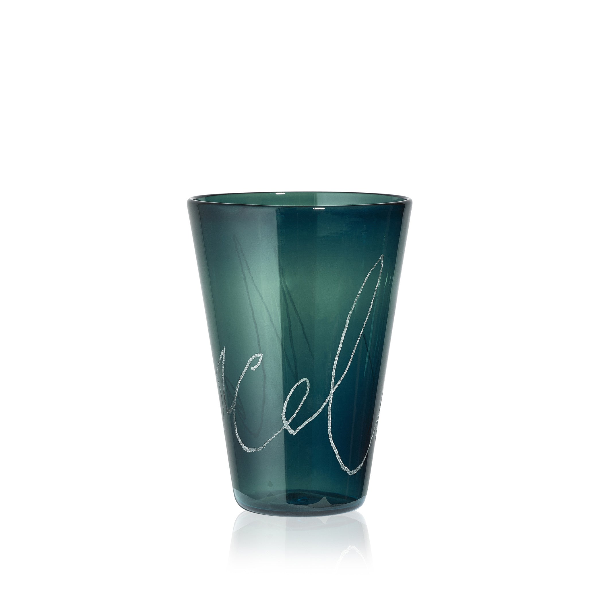 Personalised Handblown Graffiti Glass in Pine Tree Green