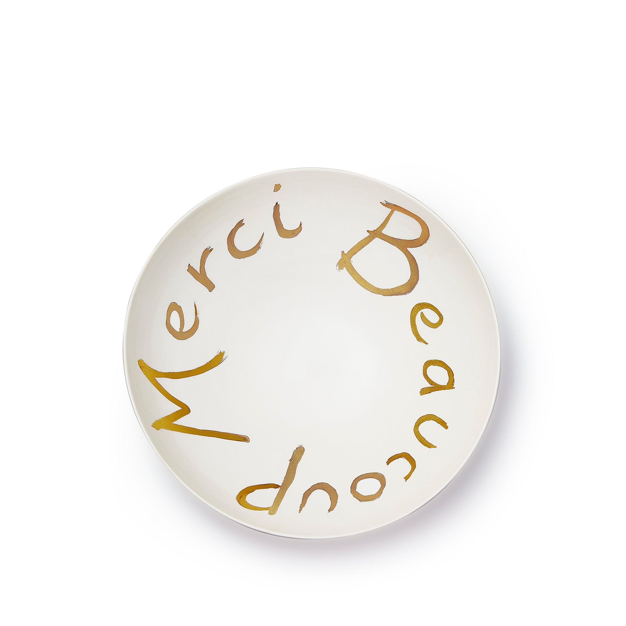 Merci Beaucoup Porcelain Bowl in Matte Gold