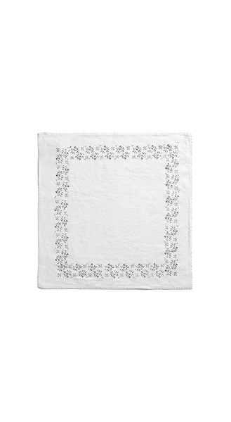 Bernadette's Framed Flower Linen Napkin in Grape Purple