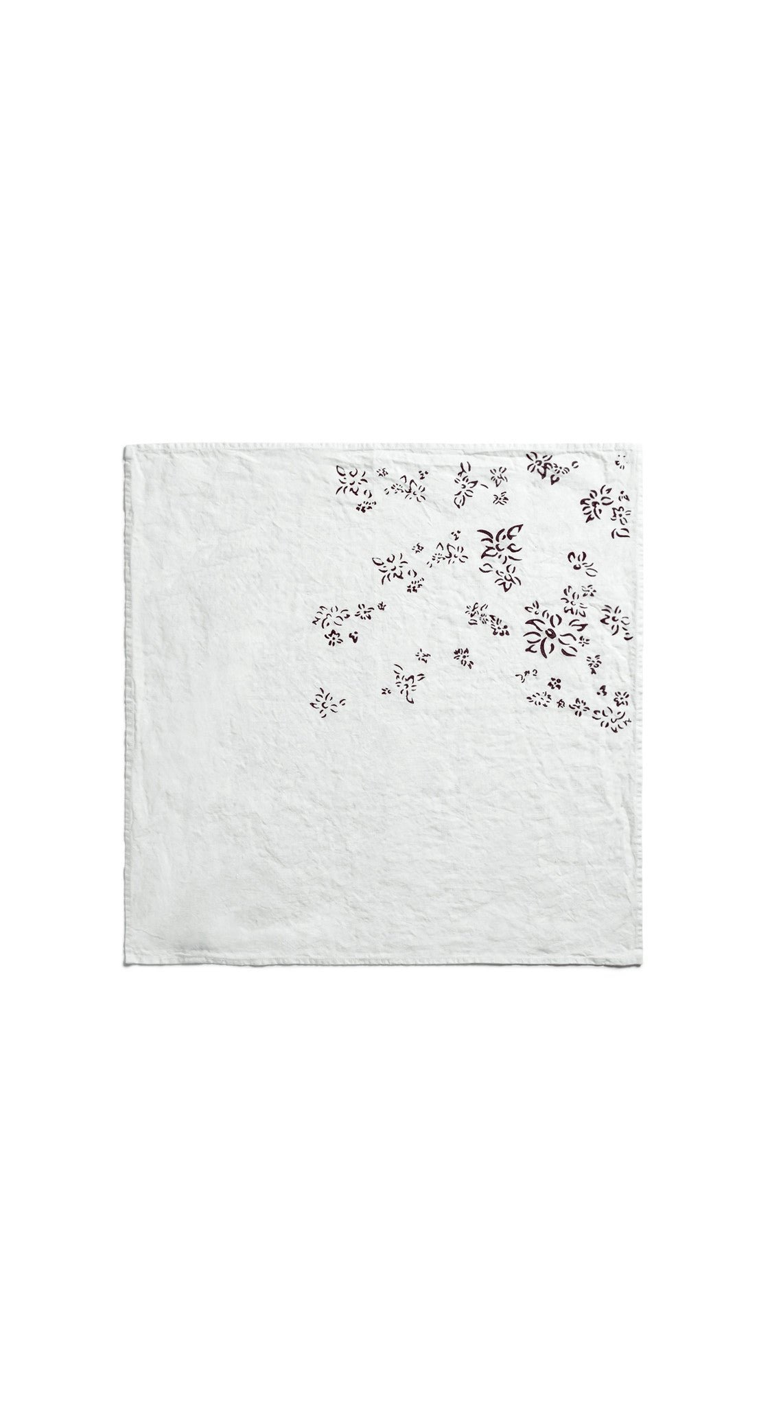Bernadette's Hand Stamped Falling Flower Linen Napkin in Grape Purple